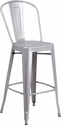 30'' High Silver Metal Indoor-Outdoor Barstool with Back [CH-30STOOL-SIL-GG]