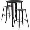 30'' Round Black-Antique Gold Metal Indoor-Outdoor Bar Table Set with 2 Distressed Backless Saddle Seat Barstools [CH-51090BH-2-ET30ST-BQ-GG]