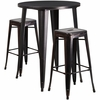 30'' Round Black-Antique Gold Metal Indoor-Outdoor Bar Table Set with 2 Square Seat Backless Barstools [CH-51090BH-2-30SQST-BQ-GG]
