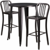 30'' Round Black-Antique Gold Metal Indoor-Outdoor Bar Table Set with 2 Vertical Slat Back Barstools [CH-51090BH-2-30VRT-BQ-GG]