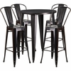 30'' Round Black-Antique Gold Metal Indoor-Outdoor Bar Table Set with 4 Cafe Barstools [CH-51090BH-4-30CAFE-BQ-GG]