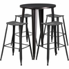 30'' Round Black-Antique Gold Metal Indoor-Outdoor Bar Table Set with 4 Distressed Backless Saddle Seat Barstools [CH-51090BH-4-ET30ST-BQ-GG]