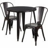 30'' Round Black-Antique Gold Metal Indoor-Outdoor Table Set with 2 Cafe Chairs [CH-51090TH-2-18CAFE-BQ-GG]