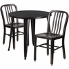 30'' Round Black-Antique Gold Metal Indoor-Outdoor Table Set with 2 Vertical Slat Back Chairs [CH-51090TH-2-18VRT-BQ-GG]