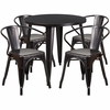 30'' Round Black-Antique Gold Metal Indoor-Outdoor Table Set with 4 Arm Chairs [CH-51090TH-4-18ARM-BQ-GG]