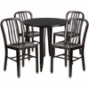 30'' Round Black-Antique Gold Metal Indoor-Outdoor Table Set with 4 Vertical Slat Back Chairs [CH-51090TH-4-18VRT-BQ-GG]