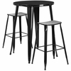 30'' Round Black Metal Indoor-Outdoor Bar Table Set with 2 Backless Saddle Seat Barstools [CH-51090BH-2-ET30ST-BK-GG]
