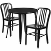 30'' Round Black Metal Indoor-Outdoor Table Set with 2 Vertical Slat Back Chairs [CH-51090TH-2-18VRT-BK-GG]