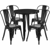 30'' Round Black Metal Indoor-Outdoor Table Set with 4 Cafe Chairs [CH-51090TH-4-18CAFE-BK-GG]