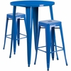 30'' Round Blue Metal Indoor-Outdoor Bar Table Set with 2 Square Seat Backless Barstools [CH-51090BH-2-30SQST-BL-GG]