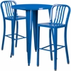 30'' Round Blue Metal Indoor-Outdoor Bar Table Set with 2 Vertical Slat Back Barstools [CH-51090BH-2-30VRT-BL-GG]