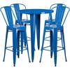 30'' Round Blue Metal Indoor-Outdoor Bar Table Set with 4 Cafe Barstools [CH-51090BH-4-30CAFE-BL-GG]