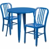 30'' Round Blue Metal Indoor-Outdoor Table Set with 2 Vertical Slat Back Chairs [CH-51090TH-2-18VRT-BL-GG]