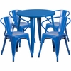 30'' Round Blue Metal Indoor-Outdoor Table Set with 4 Arm Chairs [CH-51090TH-4-18ARM-BL-GG]