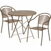 30'' Round Gold Indoor-Outdoor Steel Folding Patio Table Set with 2 Round Back Chairs [CO-30RDF-03CHR2-GD-GG]