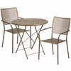 30'' Round Gold Indoor-Outdoor Steel Folding Patio Table Set with 2 Square Back Chairs [CO-30RDF-02CHR2-GD-GG]