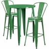 30'' Round Green Metal Indoor-Outdoor Bar Table Set with 2 Cafe Barstools [CH-51090BH-2-30CAFE-GN-GG]