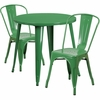 30'' Round Green Metal Indoor-Outdoor Table Set with 2 Cafe Chairs [CH-51090TH-2-18CAFE-GN-GG]