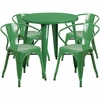 30'' Round Green Metal Indoor-Outdoor Table Set with 4 Arm Chairs [CH-51090TH-4-18ARM-GN-GG]