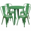 30'' Round Green Metal Indoor-Outdoor Table Set with 4 Cafe Chairs [CH-51090TH-4-18CAFE-GN-GG]