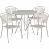30'' Round Light Gray Indoor-Outdoor Steel Folding Patio Table Set with 4 Round Back Chairs [CO-30RDF-03CHR4-SIL-GG]