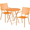 30'' Round Orange Indoor-Outdoor Steel Folding Patio Table Set with 2 Square Back Chairs [CO-30RDF-02CHR2-OR-GG]