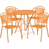 30'' Round Orange Indoor-Outdoor Steel Folding Patio Table Set with 4 Round Back Chairs [CO-30RDF-03CHR4-OR-GG]