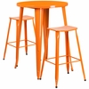 30'' Round Orange Metal Indoor-Outdoor Bar Table Set with 2 Backless Saddle Seat Barstools [CH-51090BH-2-ET30ST-OR-GG]