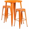 30'' Round Orange Metal Indoor-Outdoor Bar Table Set with 2 Square Seat Backless Barstools [CH-51090BH-2-30SQST-OR-GG]