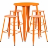 30'' Round Orange Metal Indoor-Outdoor Bar Table Set with 4 Backless Saddle Seat Barstools [CH-51090BH-4-ET30ST-OR-GG]