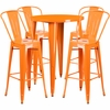 30'' Round Orange Metal Indoor-Outdoor Bar Table Set with 4 Cafe Barstools [CH-51090BH-4-30CAFE-OR-GG]