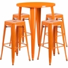 30'' Round Orange Metal Indoor-Outdoor Bar Table Set with 4 Square Seat Backless Barstools [CH-51090BH-4-30SQST-OR-GG]