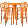 30'' Round Orange Metal Indoor-Outdoor Bar Table Set with 4 Vertical Slat Back Barstools [CH-51090BH-4-30VRT-OR-GG]