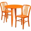 30'' Round Orange Metal Indoor-Outdoor Table Set with 2 Vertical Slat Back Chairs [CH-51090TH-2-18VRT-OR-GG]