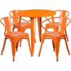 30'' Round Orange Metal Indoor-Outdoor Table Set with 4 Arm Chairs [CH-51090TH-4-18ARM-OR-GG]