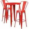 30'' Round Red Metal Indoor-Outdoor Bar Table Set with 2 Cafe Barstools [CH-51090BH-2-30CAFE-RED-GG]