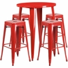 30'' Round Red Metal Indoor-Outdoor Bar Table Set with 4 Square Seat Backless Barstools [CH-51090BH-4-30SQST-RED-GG]