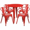 30'' Round Red Metal Indoor-Outdoor Table Set with 4 Arm Chairs [CH-51090TH-4-18ARM-RED-GG]
