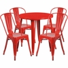 30'' Round Red Metal Indoor-Outdoor Table Set with 4 Cafe Chairs [CH-51090TH-4-18CAFE-RED-GG]