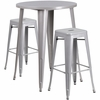 30'' Round Silver Metal Indoor-Outdoor Bar Table Set with 2 Square Seat Backless Barstools [CH-51090BH-2-30SQST-SIL-GG]