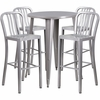 30'' Round Silver Metal Indoor-Outdoor Bar Table Set with 4 Vertical Slat Back Barstools [CH-51090BH-4-30VRT-SIL-GG]