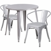 30'' Round Silver Metal Indoor-Outdoor Table Set with 2 Arm Chairs [CH-51090TH-2-18ARM-SIL-GG]