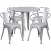 30'' Round Silver Metal Indoor-Outdoor Table Set with 4 Arm Chairs [CH-51090TH-4-18ARM-SIL-GG]