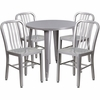 30'' Round Silver Metal Indoor-Outdoor Table Set with 4 Vertical Slat Back Chairs [CH-51090TH-4-18VRT-SIL-GG]