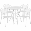 30'' Round White Indoor-Outdoor Steel Folding Patio Table Set with 4 Round Back Chairs [CO-30RDF-03CHR4-WH-GG]