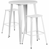 30'' Round White Metal Indoor-Outdoor Bar Table Set with 2 Backless Saddle Seat Barstools [CH-51090BH-2-ET30ST-WH-GG]