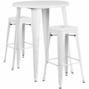30'' Round White Metal Indoor-Outdoor Bar Table Set with 2 Square Seat Backless Barstools [CH-51090BH-2-30SQST-WH-GG]
