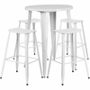 30'' Round White Metal Indoor-Outdoor Bar Table Set with 4 Backless Saddle Seat Barstools [CH-51090BH-4-ET30ST-WH-GG]