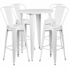 30'' Round White Metal Indoor-Outdoor Bar Table Set with 4 Cafe Barstools [CH-51090BH-4-30CAFE-WH-GG]