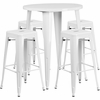 30'' Round White Metal Indoor-Outdoor Bar Table Set with 4 Square Seat Backless Barstools [CH-51090BH-4-30SQST-WH-GG]